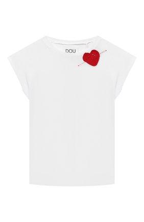 Детская хлопковая футболка DOUUOD белого цвета, арт. 21E/U/JR/TE24/1228/3A-8A | Фото 1