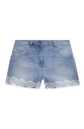 Детские джинсовые шорты ERMANNO SCERVINO голубого цвета, арт. ESFBE008 CE50 WSUNI1/M-XL | Фото 1