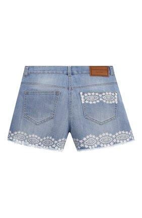 Детские джинсовые шорты ERMANNO SCERVINO голубого цвета, арт. ESFBE008 CE50 WSUNI1/M-XL | Фото 2