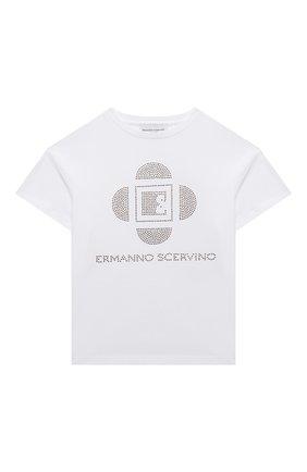 Детская хлопковая футболка ERMANNO SCERVINO белого цвета, арт. ESFTS010 JE95 WS009/XXS-S | Фото 1
