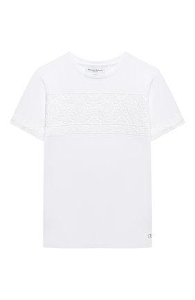 Детская хлопковая футболка ERMANNO SCERVINO белого цвета, арт. ESFTS011 JE95 WSUNI1/XXS-S | Фото 1