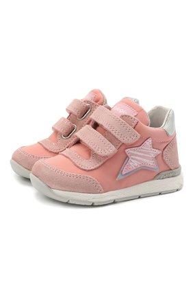 Детские кожаные кеды FALCOTTO розового цвета, арт. 0012015873/02 | Фото 1