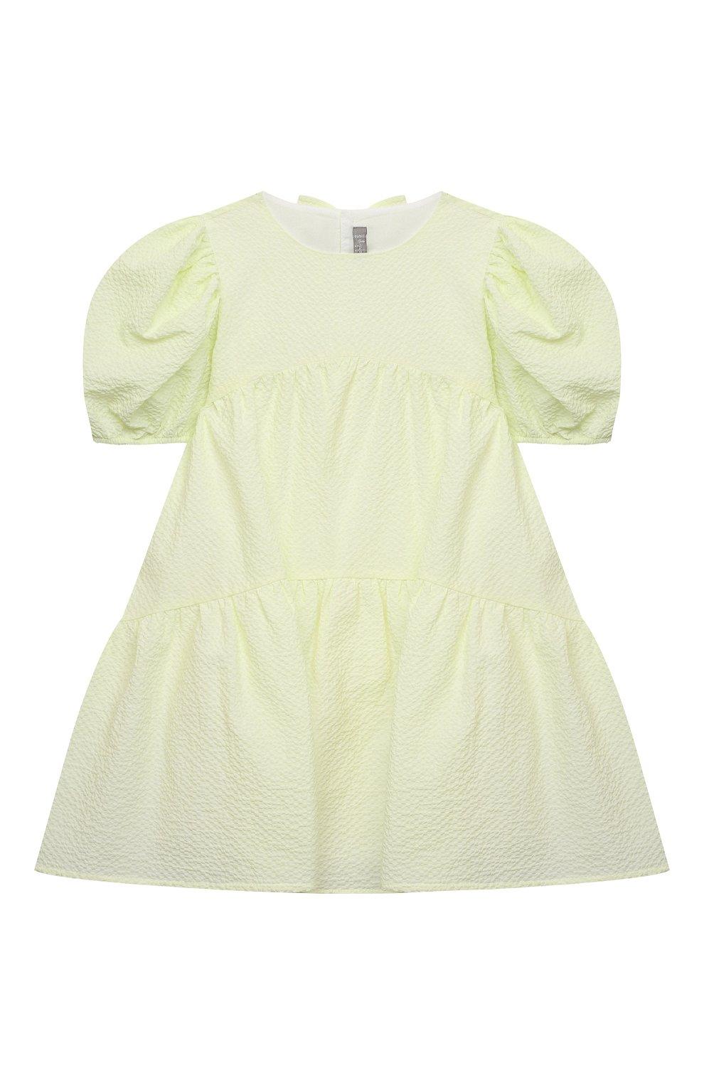 Детское хлопковое платье IL GUFO желтого цвета, арт. P21VM607C0053/2A-4A   Фото 1 (Рукава: Короткие; Случай: Повседневный; Материал внешний: Хлопок; Девочки Кросс-КТ: Платье-одежда; Материал подклада: Хлопок; Ростовка одежда: 18 мес   86 см, 2 года   92 см, 3 года   98 см)