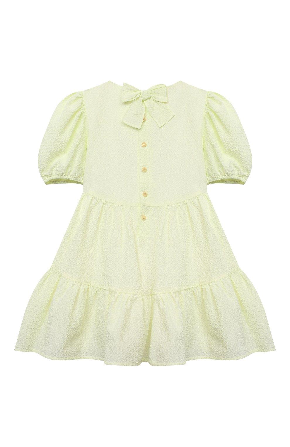 Детское хлопковое платье IL GUFO желтого цвета, арт. P21VM607C0053/2A-4A   Фото 2 (Рукава: Короткие; Случай: Повседневный; Материал внешний: Хлопок; Девочки Кросс-КТ: Платье-одежда; Материал подклада: Хлопок; Ростовка одежда: 18 мес   86 см, 2 года   92 см, 3 года   98 см)