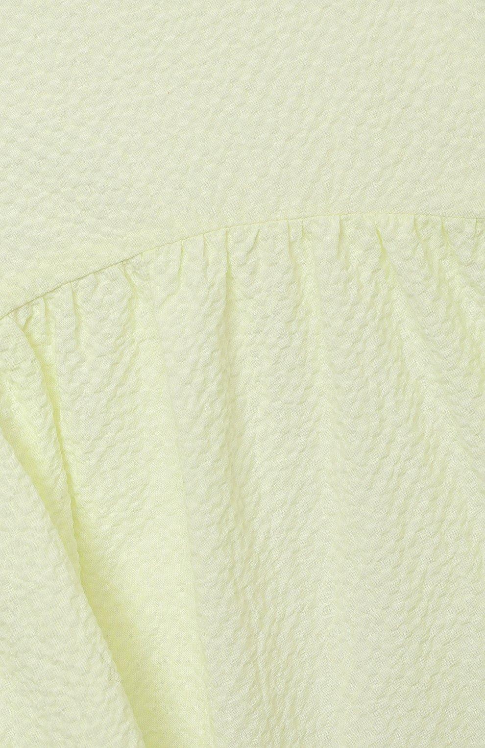 Детское хлопковое платье IL GUFO желтого цвета, арт. P21VM607C0053/2A-4A   Фото 3 (Рукава: Короткие; Случай: Повседневный; Материал внешний: Хлопок; Девочки Кросс-КТ: Платье-одежда; Материал подклада: Хлопок; Ростовка одежда: 18 мес   86 см, 2 года   92 см, 3 года   98 см)