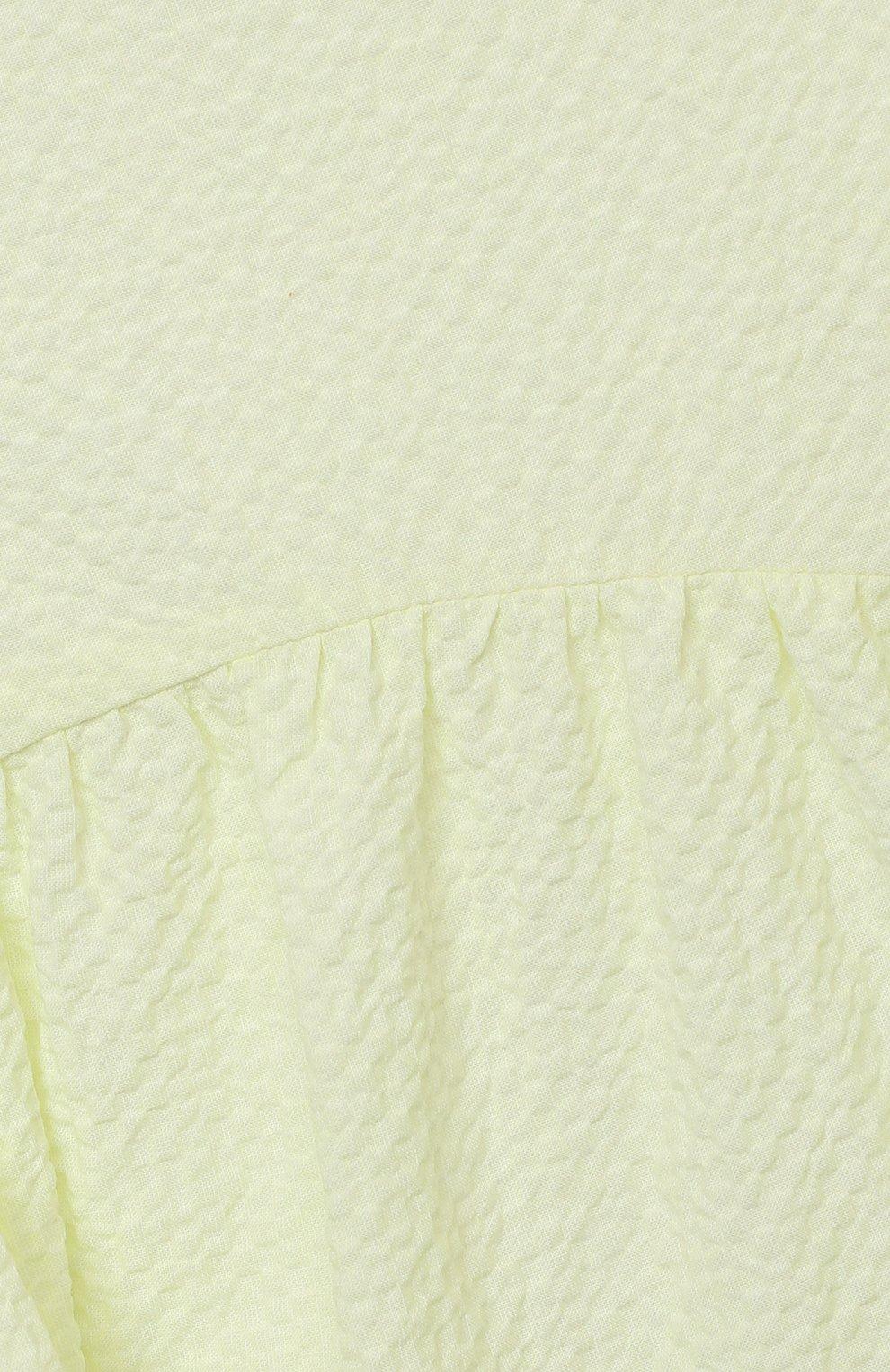 Детское хлопковое платье IL GUFO желтого цвета, арт. P21VM607C0053/5A-8A   Фото 3 (Рукава: Короткие; Случай: Повседневный; Материал внешний: Хлопок; Девочки Кросс-КТ: Платье-одежда; Материал подклада: Хлопок; Ростовка одежда: 4 года   104 см, 5 лет   110 см, 7 лет   122 см)