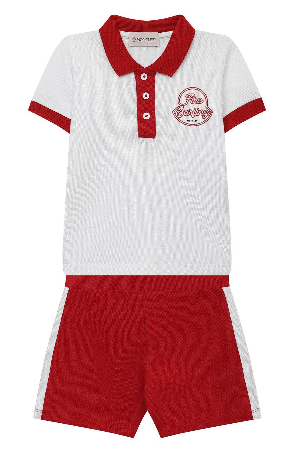 Детский комплект из поло и шорт MONCLER красного цвета, арт. G1-951-8M760-20-8496F | Фото 1