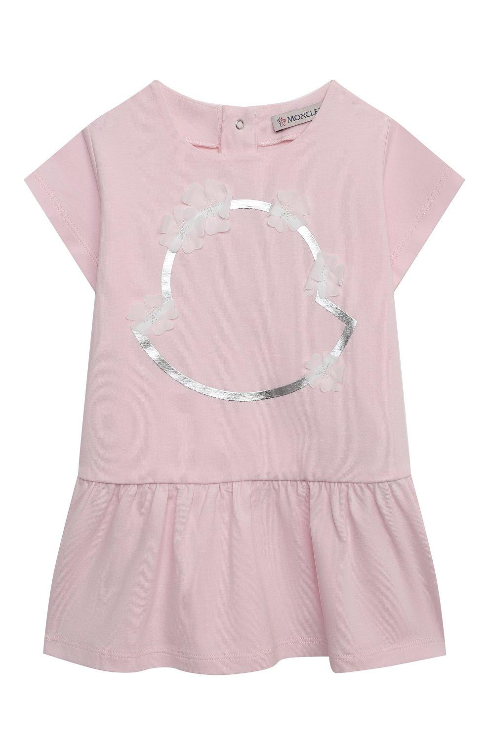 Женский хлопковое платье MONCLER светло-розового цвета, арт. G1-951-8I724-10-8790N | Фото 1