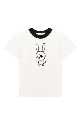Детская хлопковая футболка NATASHA ZINKO белого цвета, арт. SS21MNZ511-06/01/3-8 | Фото 1