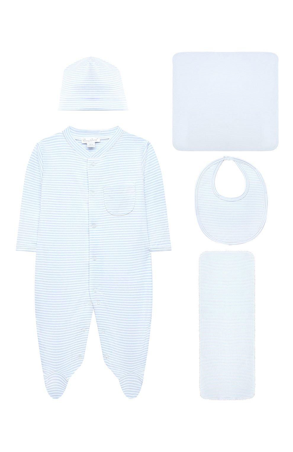 Детского комплект из пяти предметов KISSY KISSY голубого цвета, арт. 44192   Фото 1 (Материал внешний: Хлопок; Ростовка одежда: 0 - 3 мес   50 - 60 см, 6 мес   68 см)