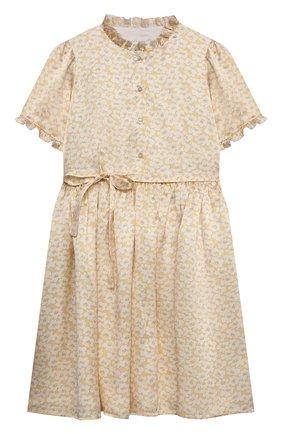 Детское шелковое платье PAADE MODE желтого цвета, арт. 21210021/4Y-8Y   Фото 1