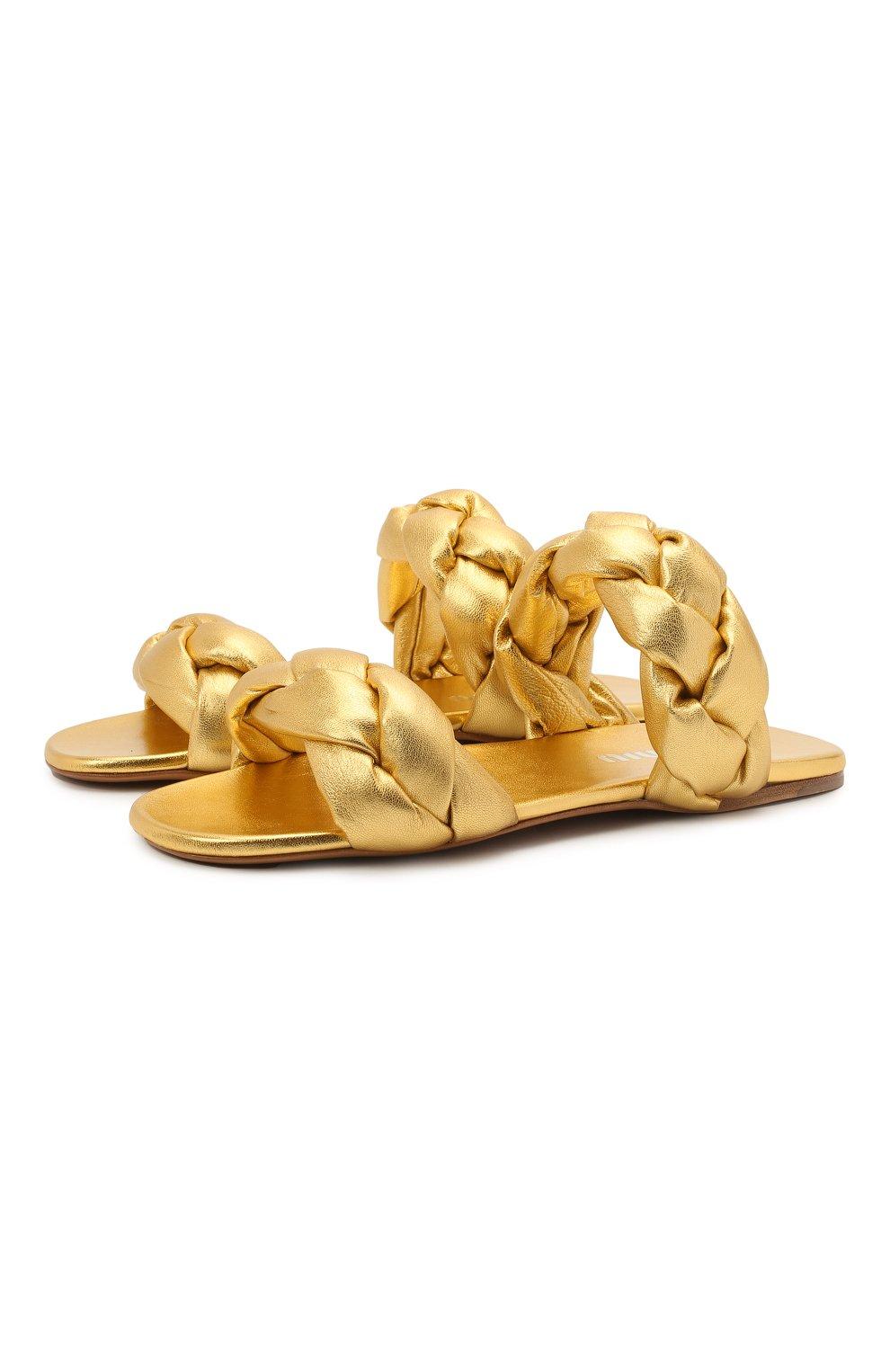 Женские кожаные сандалии MIU MIU золотого цвета, арт. 5XX488/3LAB | Фото 1