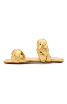 Женские кожаные сандалии MIU MIU золотого цвета, арт. 5XX488/3LAB | Фото 3