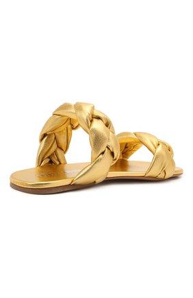 Женские кожаные сандалии MIU MIU золотого цвета, арт. 5XX488/3LAB | Фото 4