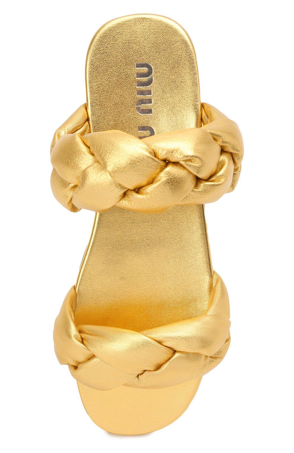 Женские кожаные сандалии MIU MIU золотого цвета, арт. 5XX488/3LAB | Фото 5
