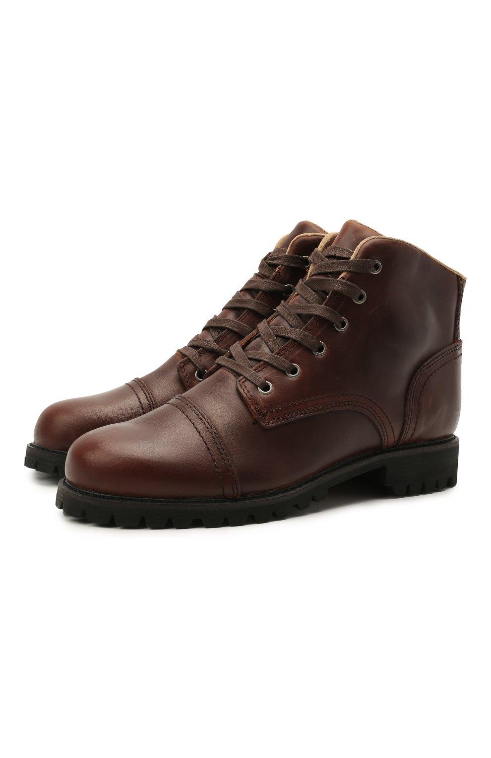 Мужские кожаные ботинки HARLEY-DAVIDSON коричневого цвета, арт. D93714 | Фото 1 (Мужское Кросс-КТ: Ботинки-обувь; Материал внутренний: Натуральная кожа; Подошва: Плоская)