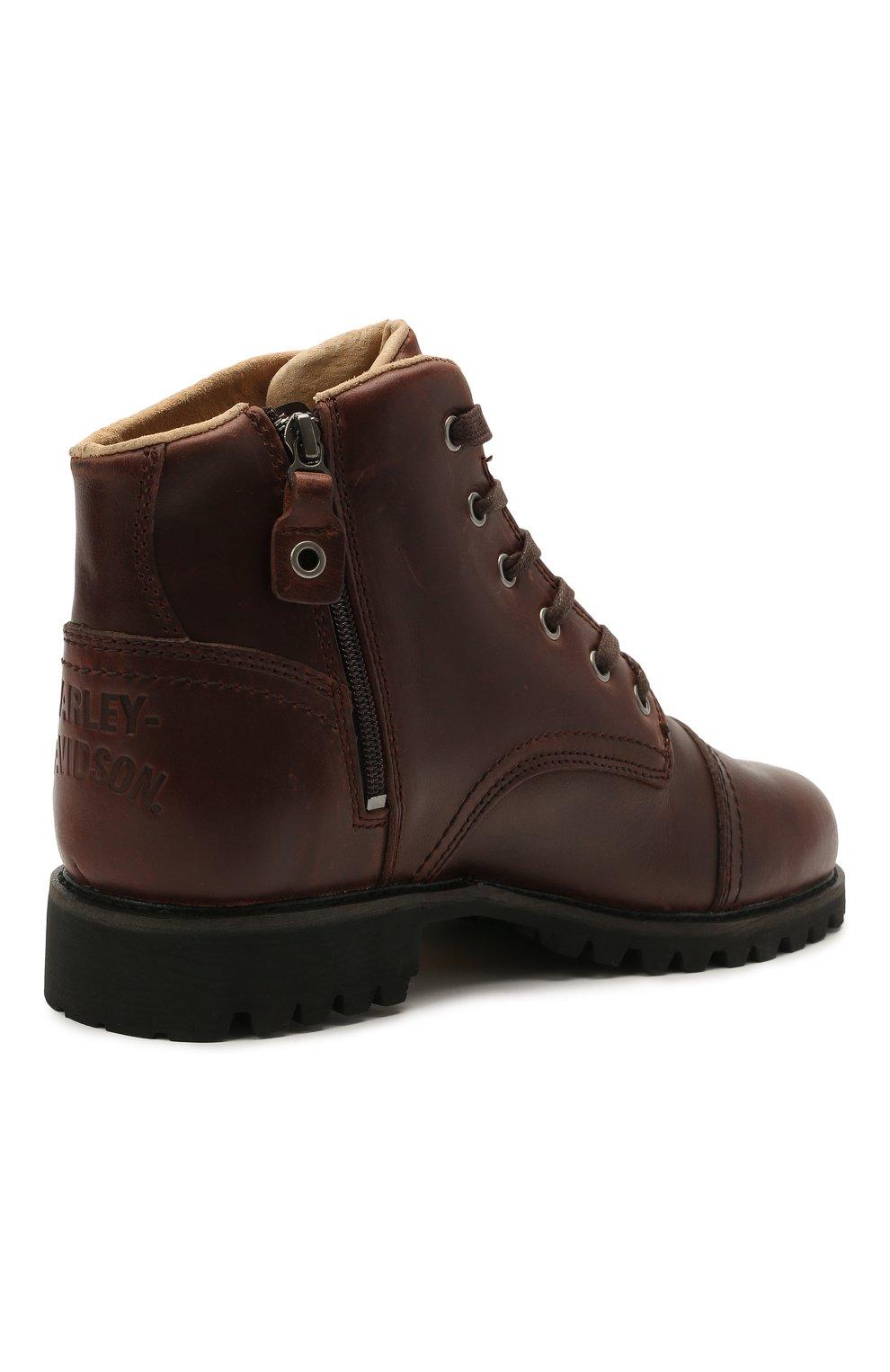 Мужские кожаные ботинки HARLEY-DAVIDSON коричневого цвета, арт. D93714 | Фото 4 (Мужское Кросс-КТ: Ботинки-обувь; Материал внутренний: Натуральная кожа; Подошва: Плоская)
