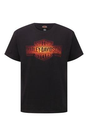 Мужская хлопковая футболка HARLEY-DAVIDSON черного цвета, арт. R003769 | Фото 1 (Рукава: Короткие; Принт: С принтом; Стили: Панк; Материал внешний: Хлопок; Длина (для топов): Стандартные)