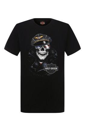 Мужская хлопковая футболка HARLEY-DAVIDSON черного цвета, арт. R003779 | Фото 1 (Материал внешний: Хлопок; Рукава: Короткие; Стили: Панк; Длина (для топов): Стандартные)