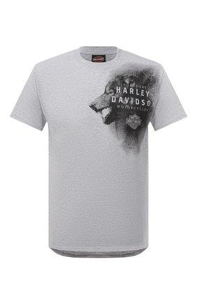Мужская хлопковая футболка HARLEY-DAVIDSON серого цвета, арт. R003784 | Фото 1 (Рукава: Короткие; Стили: Панк; Материал внешний: Хлопок; Длина (для топов): Стандартные)