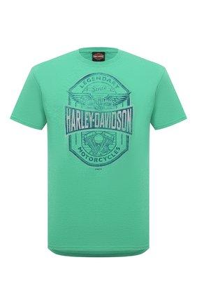 Мужская хлопковая футболка HARLEY-DAVIDSON зеленого цвета, арт. R003785 | Фото 1 (Рукава: Короткие; Материал внешний: Синтетический материал, Хлопок; Стили: Кэжуэл; Длина (для топов): Стандартные)