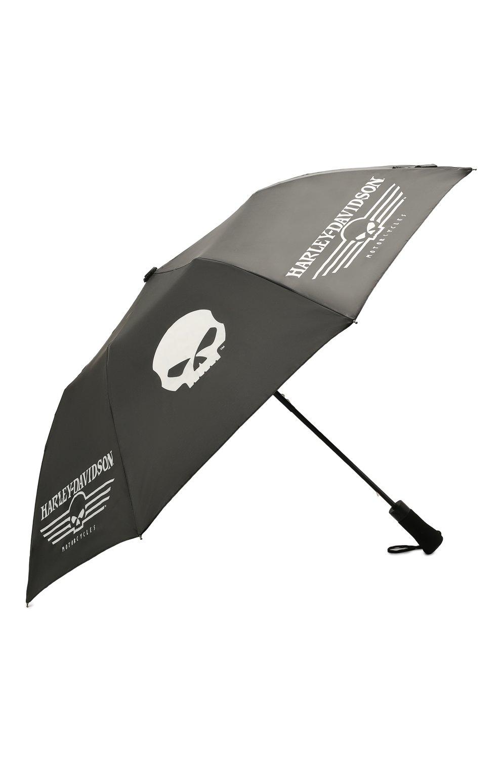 Мужской складной зонт HARLEY-DAVIDSON черного цвета, арт. UMB119988   Фото 2 (Материал: Текстиль)