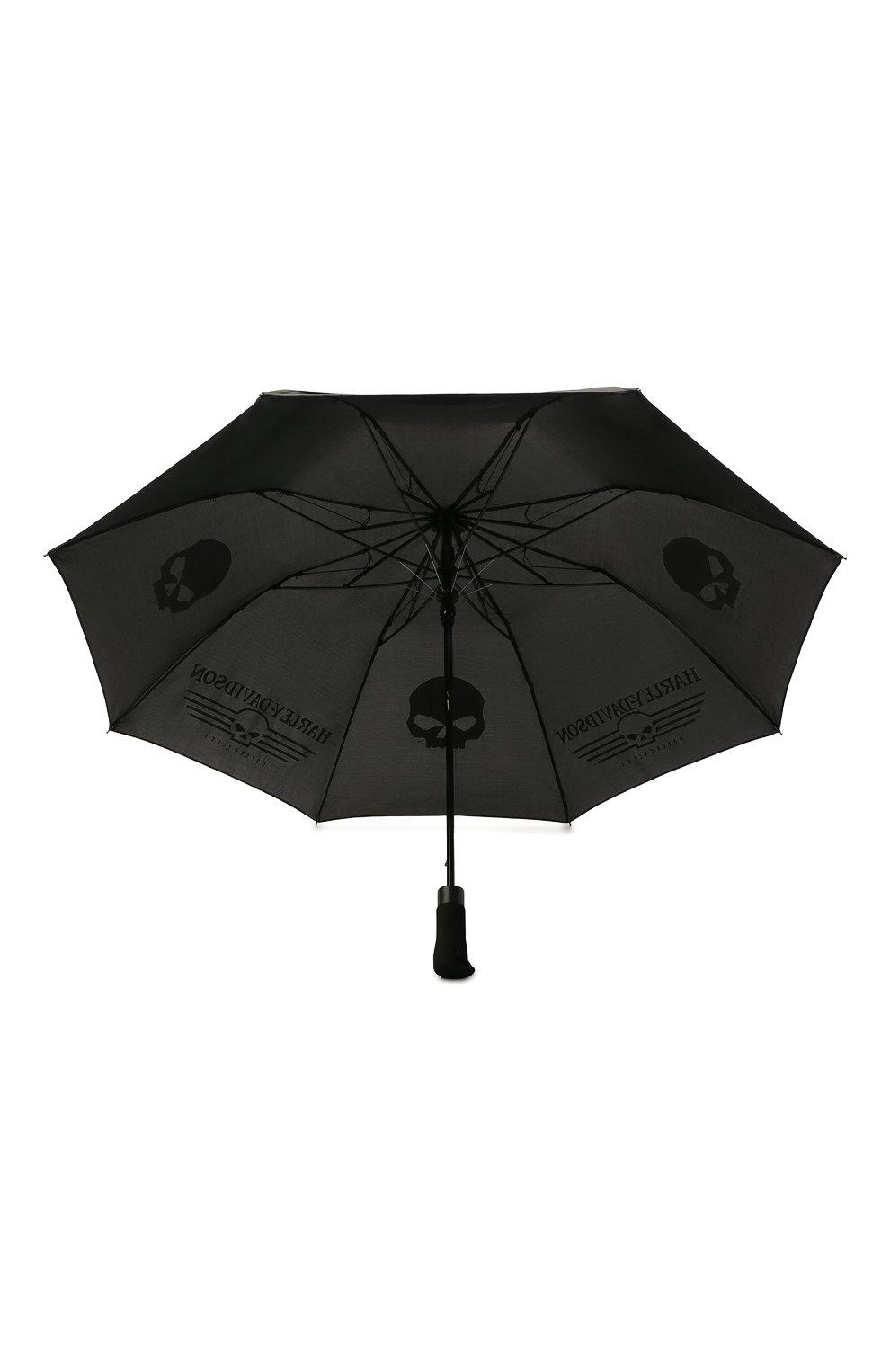 Мужской складной зонт HARLEY-DAVIDSON черного цвета, арт. UMB119988   Фото 3 (Материал: Текстиль)