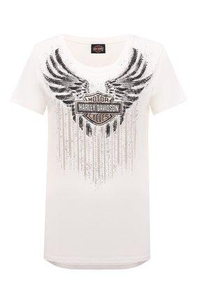 Женская хлопковая футболка HARLEY-DAVIDSON белого цвета, арт. R003814 | Фото 1