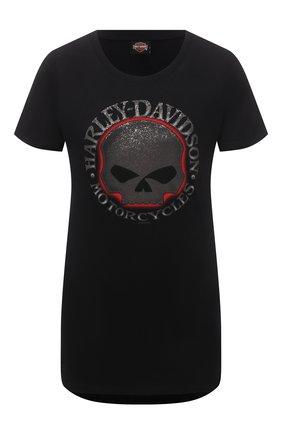 Женская хлопковая футболка HARLEY-DAVIDSON черного цвета, арт. R003821 | Фото 1