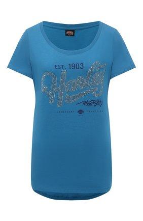 Женская хлопковая футболка HARLEY-DAVIDSON синего цвета, арт. R003822 | Фото 1