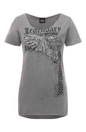 Женская хлопковая футболка HARLEY-DAVIDSON серого цвета, арт. R003823 | Фото 1