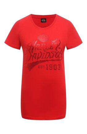 Женская хлопковая футболка HARLEY-DAVIDSON красного цвета, арт. R003824 | Фото 1