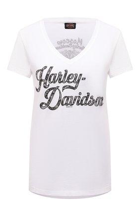 Женская хлопковая футболка HARLEY-DAVIDSON белого цвета, арт. R003828 | Фото 1