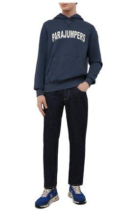 Мужской хлопковое худи PARAJUMPERS синего цвета, арт. CF28/CHESS | Фото 2 (Длина (для топов): Стандартные; Мужское Кросс-КТ: Худи-одежда; Рукава: Длинные; Принт: С принтом; Стили: Спорт-шик; Материал внешний: Хлопок)