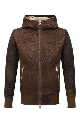 Мужской кожаный бомбер GIORGIO BRATO коричневого цвета, арт. GU21S9898HL136 | Фото 1