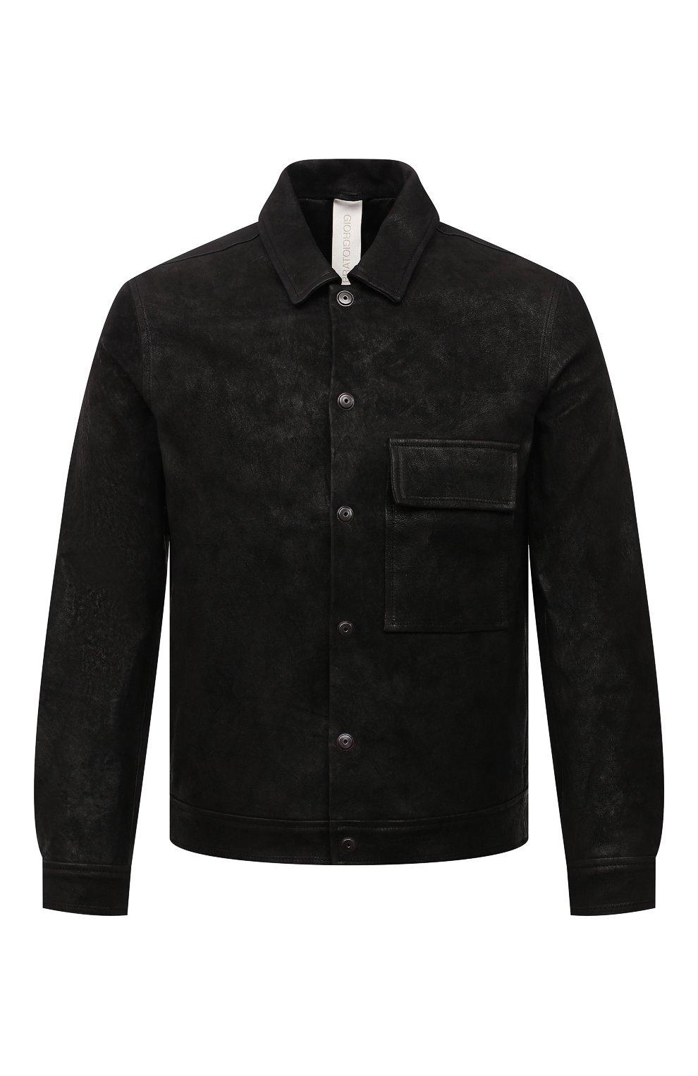 Мужская кожаная куртка GIORGIO BRATO черного цвета, арт. GU21S9808GMBH | Фото 1 (Кросс-КТ: Куртка; Рукава: Длинные; Стили: Гранж; Мужское Кросс-КТ: Кожа и замша; Длина (верхняя одежда): Короткие; Материал подклада: Хлопок)