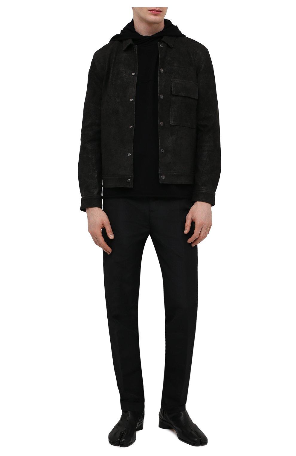 Мужская кожаная куртка GIORGIO BRATO черного цвета, арт. GU21S9808GMBH | Фото 2 (Кросс-КТ: Куртка; Рукава: Длинные; Стили: Гранж; Мужское Кросс-КТ: Кожа и замша; Длина (верхняя одежда): Короткие; Материал подклада: Хлопок)