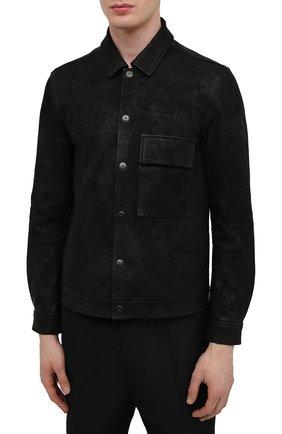 Мужская кожаная куртка GIORGIO BRATO черного цвета, арт. GU21S9808GMBH | Фото 3 (Кросс-КТ: Куртка; Рукава: Длинные; Стили: Гранж; Мужское Кросс-КТ: Кожа и замша; Длина (верхняя одежда): Короткие; Материал подклада: Хлопок)