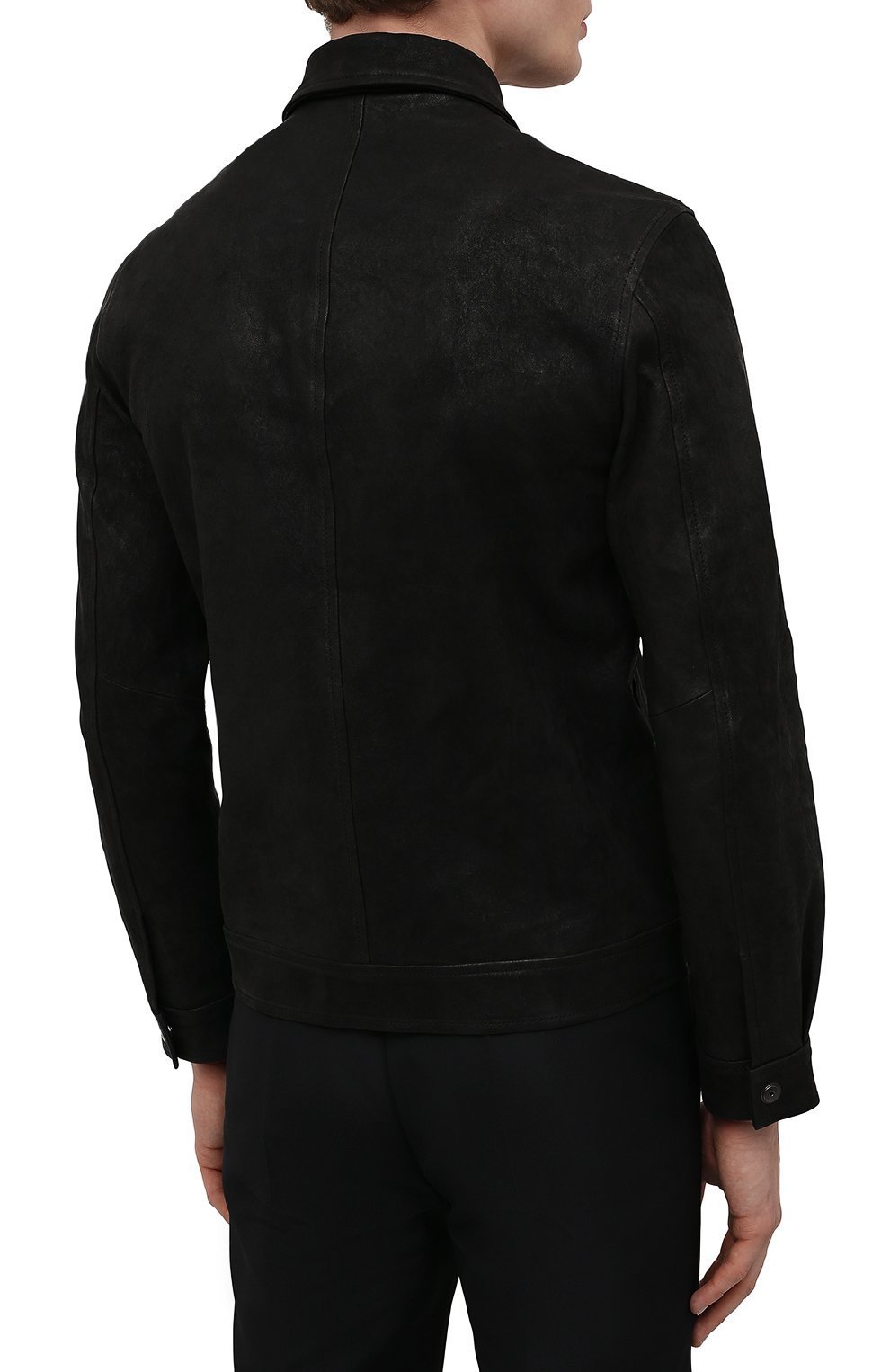 Мужская кожаная куртка GIORGIO BRATO черного цвета, арт. GU21S9808GMBH | Фото 4 (Кросс-КТ: Куртка; Рукава: Длинные; Стили: Гранж; Мужское Кросс-КТ: Кожа и замша; Длина (верхняя одежда): Короткие; Материал подклада: Хлопок)