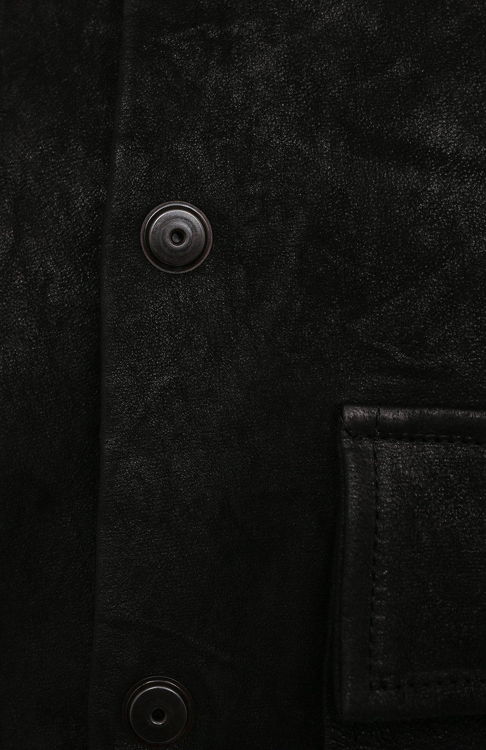 Мужская кожаная куртка GIORGIO BRATO черного цвета, арт. GU21S9808GMBH | Фото 5 (Кросс-КТ: Куртка; Рукава: Длинные; Стили: Гранж; Мужское Кросс-КТ: Кожа и замша; Длина (верхняя одежда): Короткие; Материал подклада: Хлопок)