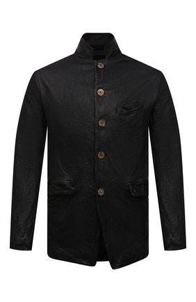 Мужская кожаная куртка GIORGIO BRATO черного цвета, арт. GU21S9616HL136 | Фото 1 (Кросс-КТ: Куртка; Рукава: Длинные; Стили: Гранж; Мужское Кросс-КТ: Кожа и замша; Длина (верхняя одежда): Короткие; Материал подклада: Хлопок)