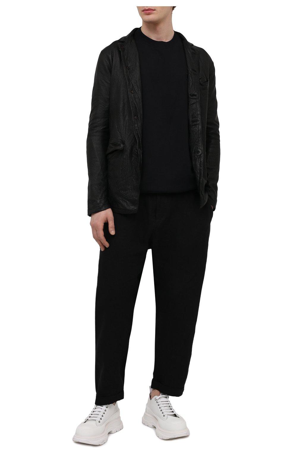 Мужская кожаная куртка GIORGIO BRATO черного цвета, арт. GU21S9616HL136 | Фото 2 (Кросс-КТ: Куртка; Рукава: Длинные; Стили: Гранж; Мужское Кросс-КТ: Кожа и замша; Длина (верхняя одежда): Короткие; Материал подклада: Хлопок)