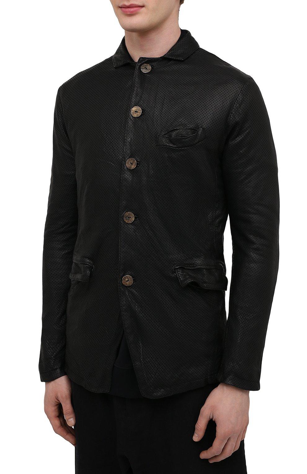 Мужская кожаная куртка GIORGIO BRATO черного цвета, арт. GU21S9616HL136 | Фото 3 (Кросс-КТ: Куртка; Рукава: Длинные; Стили: Гранж; Мужское Кросс-КТ: Кожа и замша; Длина (верхняя одежда): Короткие; Материал подклада: Хлопок)