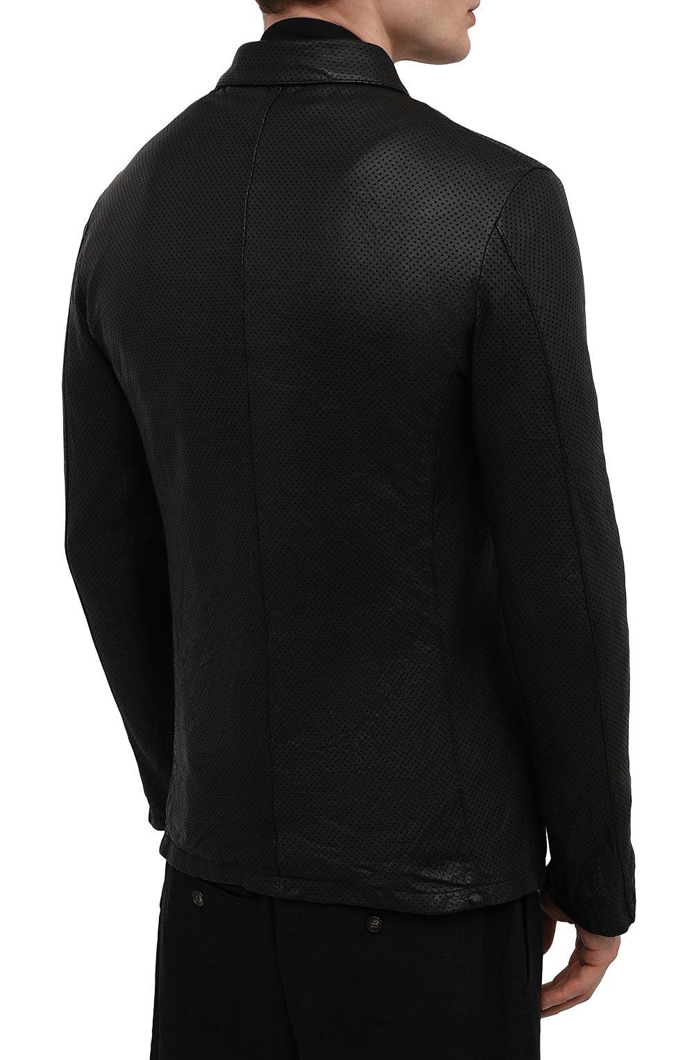 Мужская кожаная куртка GIORGIO BRATO черного цвета, арт. GU21S9616HL136 | Фото 4 (Кросс-КТ: Куртка; Рукава: Длинные; Стили: Гранж; Мужское Кросс-КТ: Кожа и замша; Длина (верхняя одежда): Короткие; Материал подклада: Хлопок)