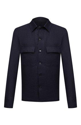 Мужская льняная рубашка ERMENEGILDO ZEGNA темно-синего цвета, арт. UWX34/S0T2 | Фото 1