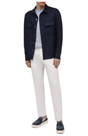 Мужская льняная рубашка ERMENEGILDO ZEGNA темно-синего цвета, арт. UWX34/S0T2 | Фото 2