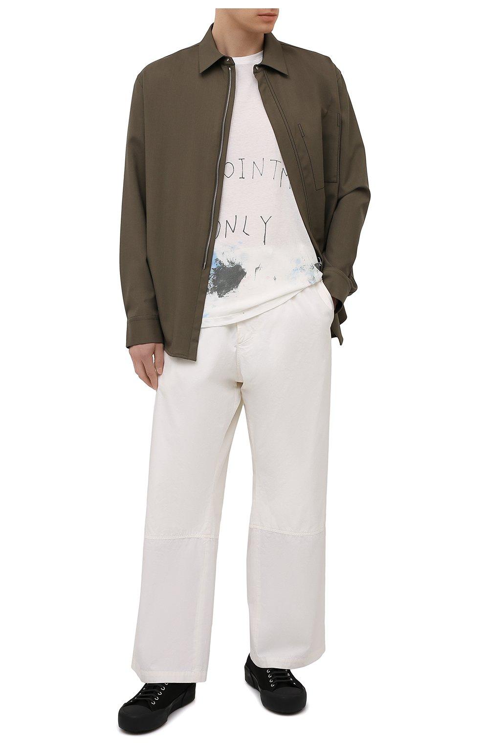 Мужские хлопковые брюки OAMC белого цвета, арт. 0AMS310833 0S240700   Фото 2 (Длина (брюки, джинсы): Стандартные; Случай: Повседневный; Материал внешний: Хлопок; Стили: Минимализм; Материал подклада: Хлопок)
