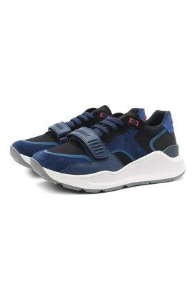 Мужские комбинированные кроссовки ramsey BURBERRY синего цвета, арт. 8039132 | Фото 1