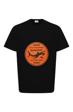 Мужская хлопковая футболка BURBERRY черного цвета, арт. 8040677 | Фото 1