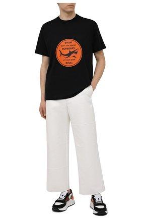 Мужская хлопковая футболка BURBERRY черного цвета, арт. 8040677 | Фото 2